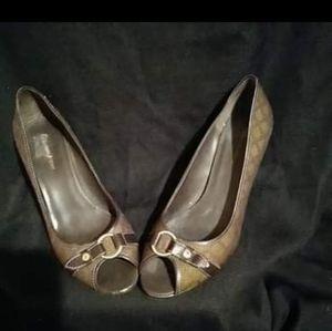 Etienne Aigner Brown Monogram Heels